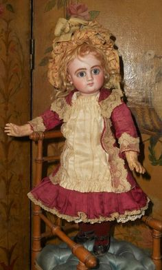 Rare very cute little Steiner Bebe size 2 / 12 ( 31 cm ) in all perfect and factory original condition , very gentle features   with dramatic painting