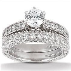 1.43ct Round Cut Diamond 2 Piece Bridal Set by GetDiamondsDirect