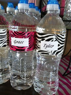 Idea for daughter's birthday - water bottles with zebra-print duct tape wrap Zoo Party Themes, Owl Themed Parties, Party Ideas, Zebra Print Party, Zebra Print Birthday, Sleepover Party, Spa Party, Zebra Party Favors, Trunk Party