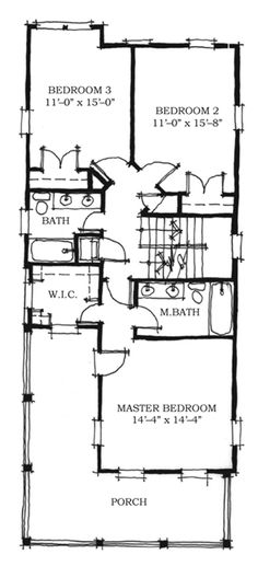Historic Southern House Plan   Southern House Plans  House    Historic Southern House Plan Level Two