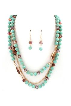 mixed bead necklace in chocolate and turquoise