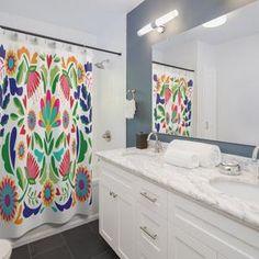 Mexican shower curtain Bathroom art Bohemian Art Bath | Etsy Modern Bathroom Decor, Bathroom Rugs, Bath Decor, Bath Rugs, Colorful Shower Curtain, Blue Shower Curtains, Decoration, Interior Decorating, Interior Design