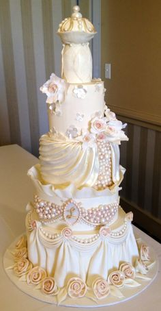 "I made this cake in Colette Peters ""Cartier Showpiece Wedding Cake"" class in Boston. Colette is an amazing teacher!"