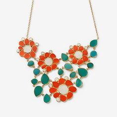 Coral Flower Bib Necklace by ISHARYA Jewelry