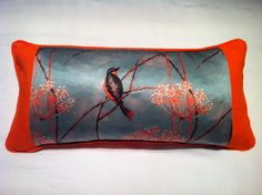 Little Finches boudoir Cushion | 24x50cm | These cushions are expertly handmade locally using luxury furnishing fabric printed at the prestigious Glasgow School Of Art - Pure silks and 100% cotton velvets backed with irish linen or cotton velvet, zipped with inner feather pads. Visit www.inspirehomeproducts.co.uk #Cushion #LuxuryCushion #Love #Home #Cosy #InteriorDesign #HomeDecor #Bedroom #Spring #Summer #2015