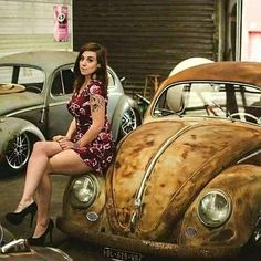 X Bros Apparel Vintage Motor T-shirts, Volkswagen Beetle & Bus T-shirts, Great price… ♠ Volkswagen Karmann Ghia, Volkswagen Golf, Sexy Cars, Hot Cars, Car Girls, Pin Up Girls, Vw Bus, Audi, Porsche