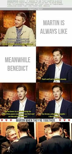 Benedict is just trolling the Johnlock shippers.  Moffat is rubbing off on him.