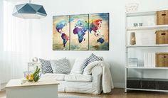 Bilder 120x80 cm - XXL Format - Fertig Aufgespannt – TOP - Vlies Leinwand - 3 Teilig - Wand Bild - Kunstdruck - Wandbild - Weltkarte 020113-47 120x80 cm: Amazon.de: Küche & Haushalt