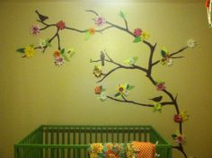 DIY tree wall decal for nursery with flowers