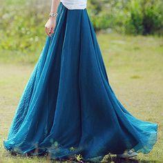 4 de couleurs mousseline de soie jupe Jupe de soie jupe été plissé en mousseline de soie robe Maxi jupe longue jupe Maxi robe soie jupe de p...