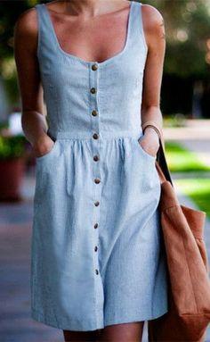 Stylish Women's U Neck Sleeveless Single-Breasted Striped Dress #summerdresses