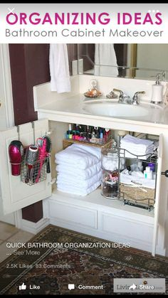Small cabinet organization for bathroom.
