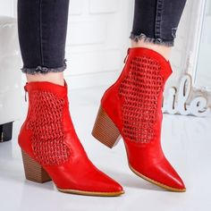 Cizme Stocari rosii perforate – rl Booty, Ankle, Casual, Shoes, Fashion, Moda, Swag, Zapatos, Wall Plug