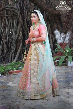 pastel bridal lehenga, pastel pink lehenga, pastel blue dupatta, net dupatta with border, gota patti lehenga