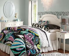 the COOL color scheme  <3 also love the black swirls on the back wall (: