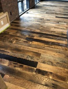 Mixed species reclaimed wood flooring crafted by Woodstock Vintage Lumber in Nashville, TN Outdoor Wood Flooring, Wood Plank Flooring, Industrial Flooring, Distressed Hardwood Floors, Reclaimed Wood Floors, Reclaimed Lumber, Industrial Home Design, Industrial House, Torch Wood