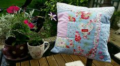 "Handmade Cath Kidston Cushion Cover 15"" Shabby Chic Roses Rosali Provence and Polka Dot Pink Blue White"