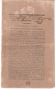 """Instructions for the Private Armed Vessels of the United States. Pickering, Timothy.  8 pp.  Privateer Instructions issued to Captain George Pilsberry of the Private Armed Brig """"Union"""" during the Quasi War with France, 1798-1800. The eight pages of instructions are printed on a folio sheet which has been folded but not cut. Signed by Secretary of State Timothy Pickering, with captain and vessel name accomplished in manuscript, and several manuscript changes made in text."""