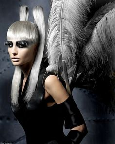 Dramatic Feather Ponytails Horns Bangs