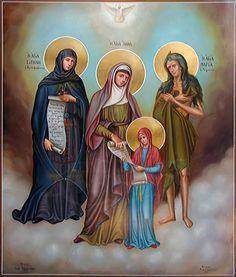 Η Αγία Ειρήνη η Χρυσοβαλάντου, η Αγία Άννα με την Παναγία και η Αγία Μαρία η Αιγυπτία.