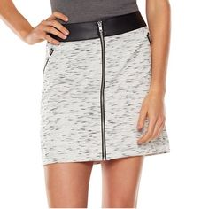 HP NWT. Rock & Republic skirt NWT. Rock & Republic light grey skirt with black faux leather waist band. Space-dyed pattern, stretch polyester material, front zipper, about 18 in long. Rock & Republic Skirts Mini
