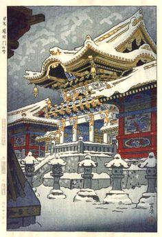Snow at Yomei Gate, Nikko by Shiro Kasamatsu, 1952 (published by Unsodo)