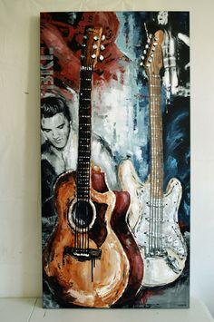 Original guitar painting by Magda Magier magdamagier.etsy.com #guitarpainting #musicart #guitarart #Elvis #elvispresley