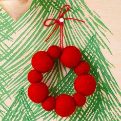 Felted Ball Wreath Ornament