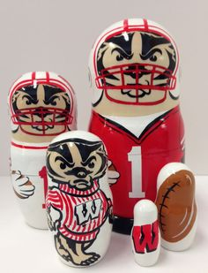 Bucky Badger matryoshka in a set of 5 -- hand-painted in the Ukraine and officially licensed by the University of Wisconsin.   Available in a football and hockey motif.