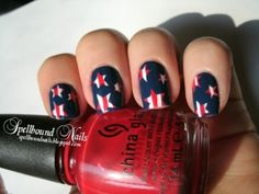 Stars, stripes, and Fourth of July nail art designs! Upgrade your Independence Day by rocking one of these fantastic patriotic nails this holiday. Hair And Nails, My Nails, Star Nails, Nail Art Designs, Nail Design, Patriotic Nails, 4th Of July Nails, July 4th, Holiday Nail Art
