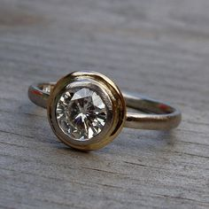 Moissanite Halo Engagement Ring  Forever by McFarlandDesigns