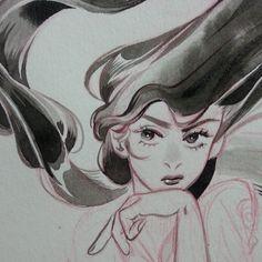 June is already over& Pretty Art, Cute Art, Leslie Hung, Art Sketches, Art Drawings, Drawn Art, Guache, You Draw, Hanging Art