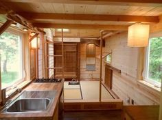 """The Oregon Cottage Company combined tasteful Japanese minimalism and tiny house living in their latest adorable project: the """"Tea House"""" cottage. Tiny Houses For Rent, Tiny House Plans, Tiny House On Wheels, Japanese Style Tiny House, Japanese Homes, Japanese Kitchen, Japanese Interior, Bungalow, Tiny Mobile House"""