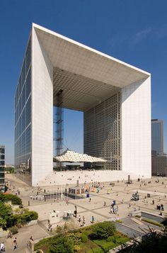 La Grande Arche de La Defense. Paris, France. La Arche measures 354-ft wide, 367-ft deep, 360-ft high.