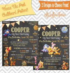 Winnie The Pooh - Pooh Bear - Baby Pooh Bear - Chalkboard Poster    ★★ ANY AGE ★★    A birthday chalkboard is a GREAT conversation piece for a