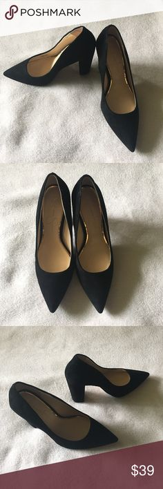 "So ""of the moment"" black suede block heel pumps Perfect pointed toe block heel pumps. So stylish for work or after. And perfect for fall! Only worn once. Jessica Simpson Shoes Heels"