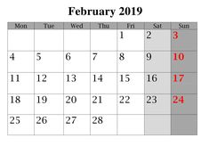 14 Best February Calendar 2019 With Holidays Images In 2019