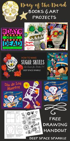 How to Draw a Sugar Skull and other Day of the Dead Art Projects for Kids halloween makerspace Art Halloween, Halloween Art Projects, Fall Art Projects, Projects For Kids, Halloween Witches, Halloween Halloween, Vintage Halloween, Halloween Makeup, Halloween Decorations