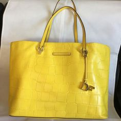Diane von Furstenberg Croc Embossed Yellow Leather Tote - Tradesy Yellow  Leather c5020470a8473