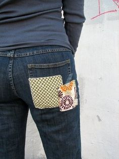 Patch jeans, fabric on the outside....