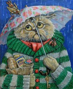 """Chat sous un parapluie, ennuyé. """"A Necessity Run"""" - Original Fine Art for Sale - © Joy Campbell"""