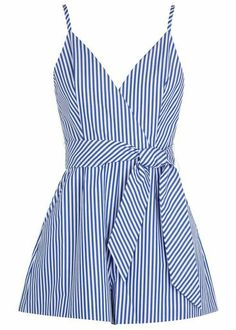 Finders Keepers blue and white cotton poplin playsuit Striped, adjustable shoulder straps, wrap-effect front, front pleats, side pockets. Cotton Jumpsuit, Short Jumpsuit, Jumpsuit Dress, Striped Jumpsuit, Black Jumpsuit, Unique Dresses, Cute Dresses, Casual Dresses, Casual Outfits