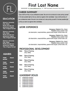 teacher resume template sleek gray and white - Free Resume Template For Teachers