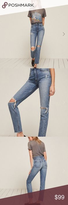 Reformation Mid Rise Skinny The perfect distressed Skinny jean. Button fly closure. NWOT. Never worn, no damage (besides factory distressing). Reformation Jeans Skinny