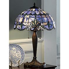 Shades of Beauty Multicolored Stained Glass Lamp from Midnight Velvet®. Intricately pieced and beautifully detailed, this elegant Tiffany-style stained glass lamp will lend the glow of sophistication to any room. Stained Glass Lamp Shades, Tiffany Stained Glass, Tiffany Glass, Stained Glass Art, Stained Glass Windows, Mosaic Glass, Chandelier Design, Chandelier Lamp, Ceiling Lamps