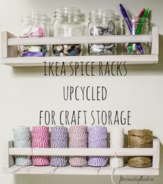 #Craft #Storage Ideas: 15 Awesome Craft Storage Tools From Your Kitchen - #craftroom #organization. #repurpose #reuse and #recycle kitchen items for storing your favorite #crafting supplies and tools! #IKEA Spice Racks for Wall Storage