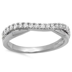 Elora 10k Gold 1/3ct TDW Round-cut White Diamond Wedding Guard Contour Band (I-J, I2-I3) (Size 4, White Gold), Women's, White I-J