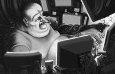 Noir cyberpunk artwork: The Fat Man by Samuel Capper