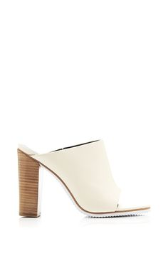 Leather Mules in Ivory by Tibi