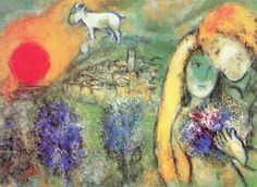 Marc Chagall Painting Les Amoureux de Vence Poster Mounted Canvas **Please note: additional images are shown as an example of the Marc Chagall, Monet, Chagall Paintings, Art Paintings, Jewish Art, Art Background, French Artists, Pablo Picasso, Famous Artists